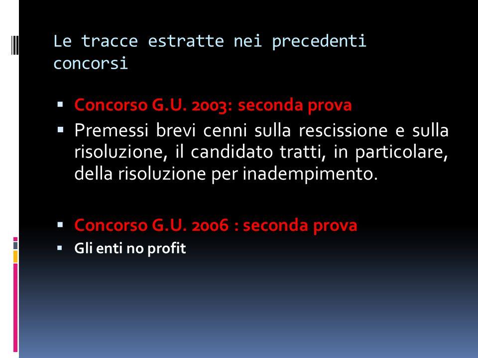 Le tracce estratte nei precedenti concorsi Concorso G.U. 2003: seconda prova Premessi brevi cenni sulla rescissione e sulla risoluzione, il candidato