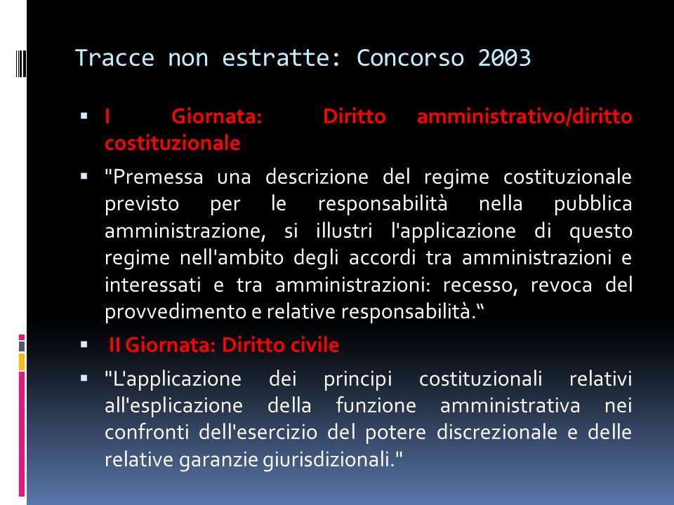 Tracce non estratte: Concorso 2003 I Giornata: Diritto amministrativo/diritto costituzionale