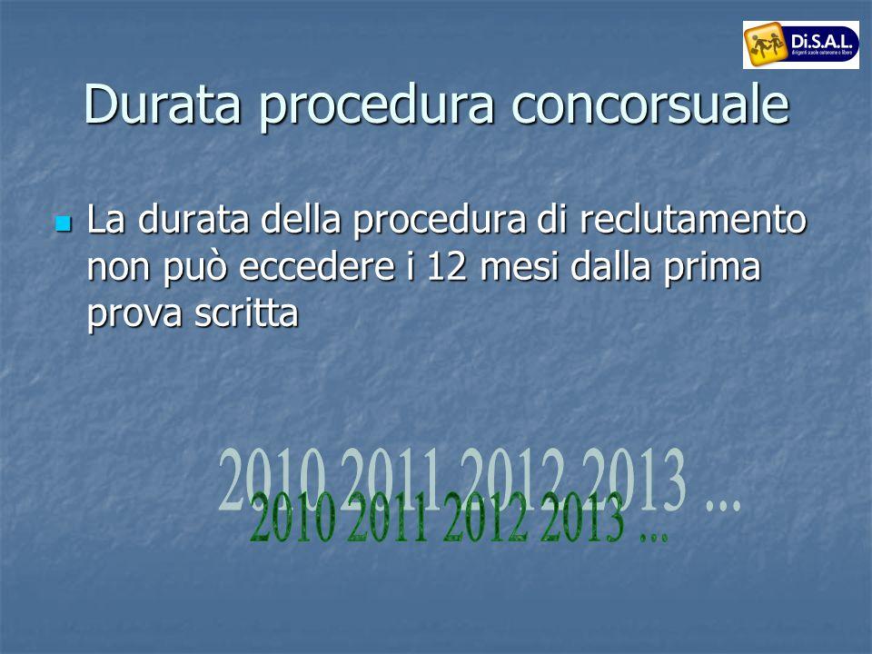 Durata procedura concorsuale La durata della procedura di reclutamento non può eccedere i 12 mesi dalla prima prova scritta La durata della procedura di reclutamento non può eccedere i 12 mesi dalla prima prova scritta