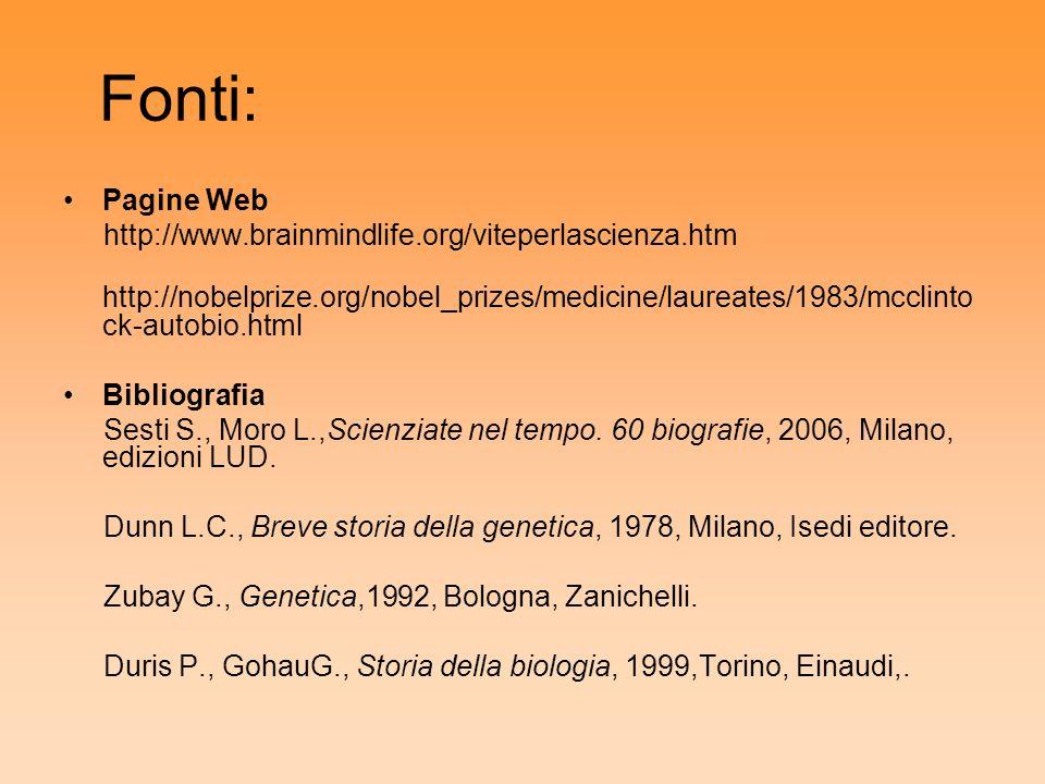 Fonti: Pagine Web http://www.brainmindlife.org/viteperlascienza.htm http://nobelprize.org/nobel_prizes/medicine/laureates/1983/mcclinto ck-autobio.htm
