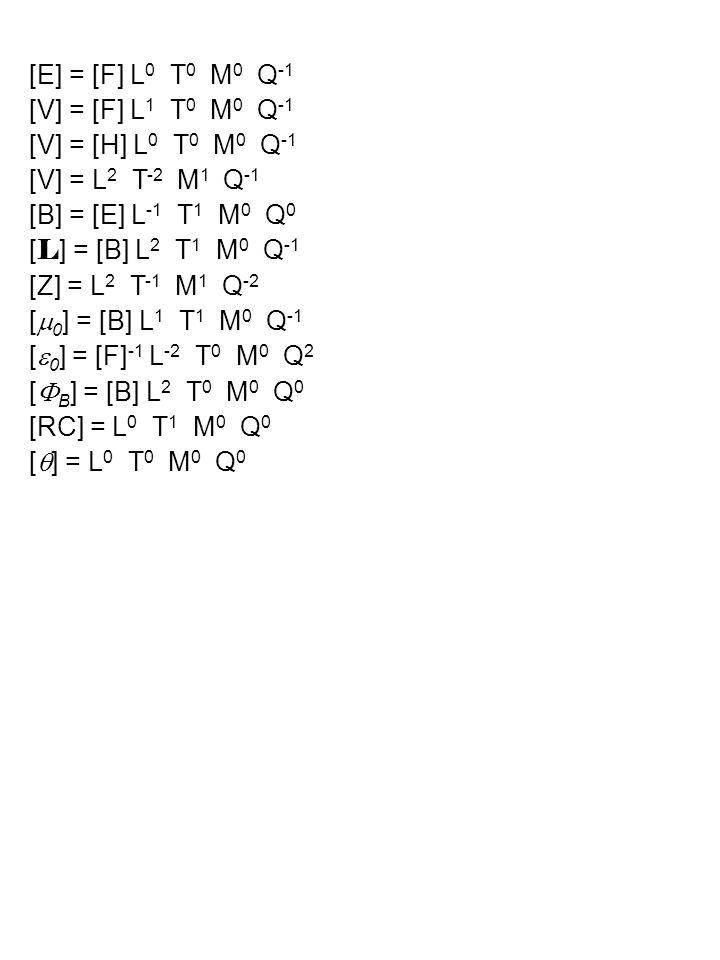 [E] = [F] L 0 T 0 M 0 Q -1 [V] = [F] L 1 T 0 M 0 Q -1 [V] = [H] L 0 T 0 M 0 Q -1 [V] = L 2 T -2 M 1 Q -1 [B] = [E] L -1 T 1 M 0 Q 0 [ L ] = [B] L 2 T