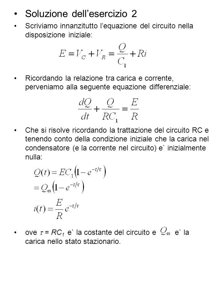 Soluzione dellesercizio 2 Scriviamo innanzitutto lequazione del circuito nella disposizione iniziale: Ricordando la relazione tra carica e corrente, p