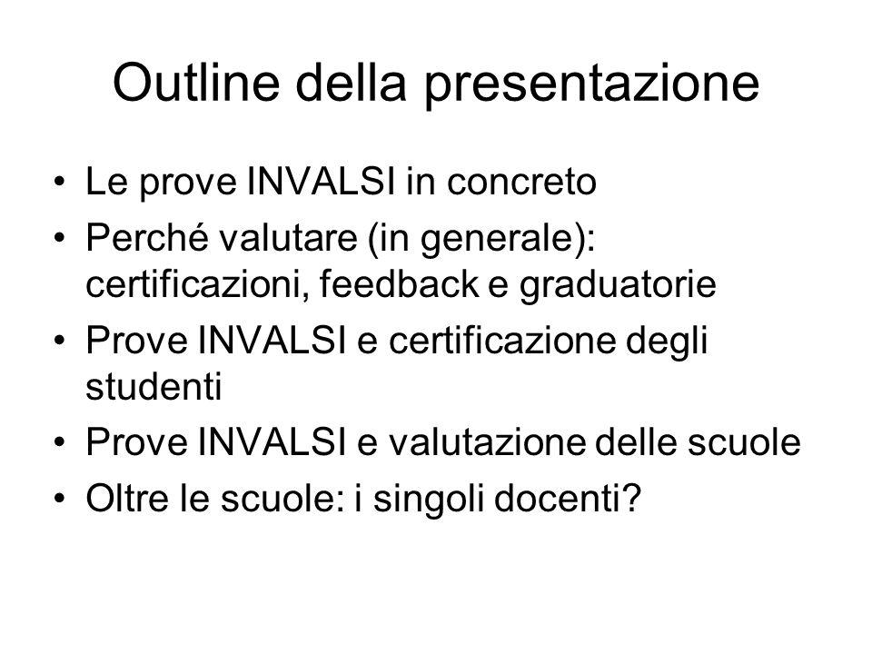 Outline della presentazione Le prove INVALSI in concreto Perché valutare (in generale): certificazioni, feedback e graduatorie Prove INVALSI e certificazione degli studenti Prove INVALSI e valutazione delle scuole Oltre le scuole: i singoli docenti