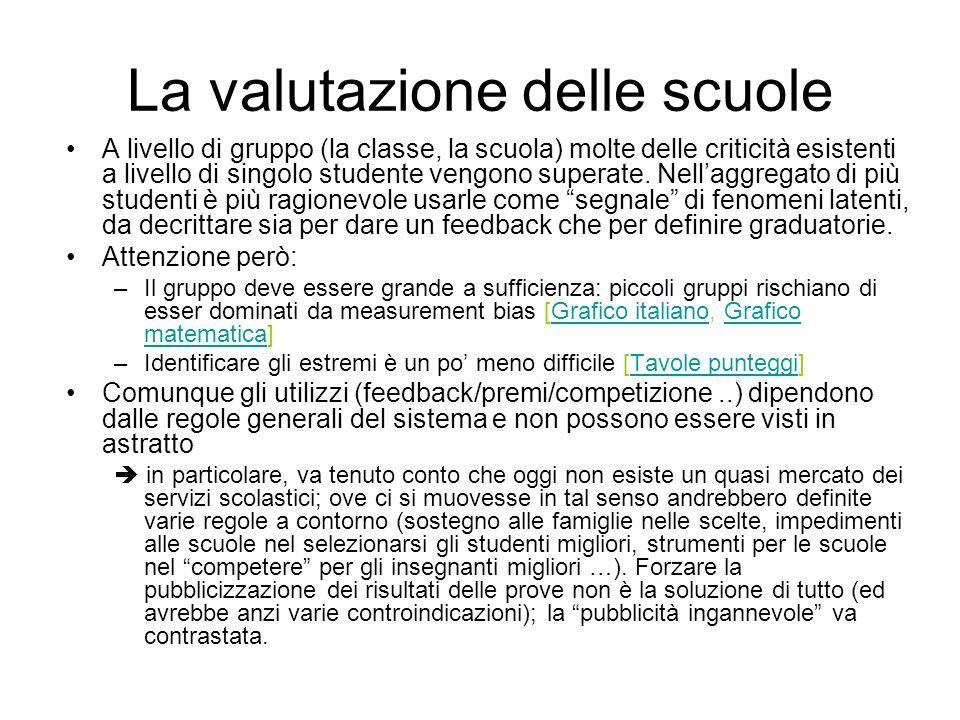 La valutazione delle scuole A livello di gruppo (la classe, la scuola) molte delle criticità esistenti a livello di singolo studente vengono superate.