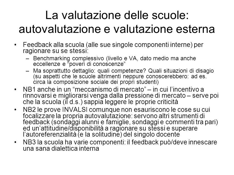La valutazione delle scuole: autovalutazione e valutazione esterna Feedback alla scuola (alle sue singole componenti interne) per ragionare su se stes