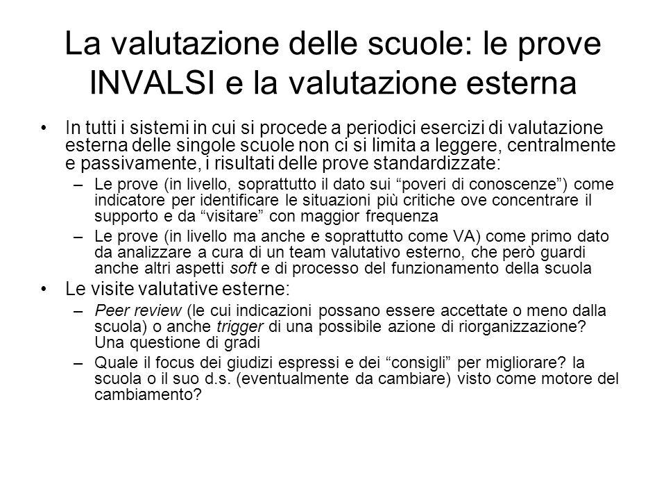 La valutazione delle scuole: le prove INVALSI e la valutazione esterna In tutti i sistemi in cui si procede a periodici esercizi di valutazione estern