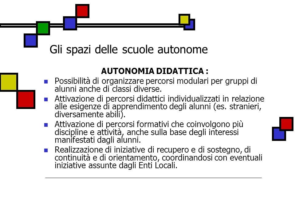 Gli spazi delle scuole autonome AUTONOMIA DIDATTICA : Possibilità di organizzare percorsi modulari per gruppi di alunni anche di classi diverse. Attiv