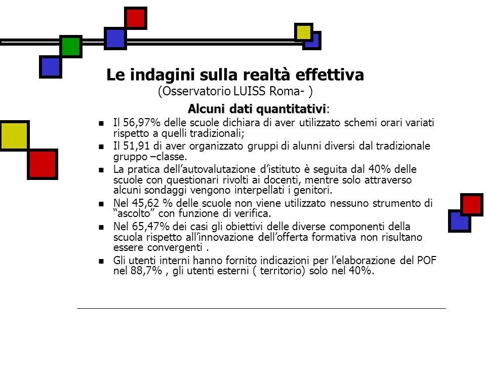 Le indagini sulla realtà effettiva (Osservatorio LUISS Roma- ) Alcuni dati quantitativi Alcuni dati quantitativi: Il 56,97% delle scuole dichiara di a