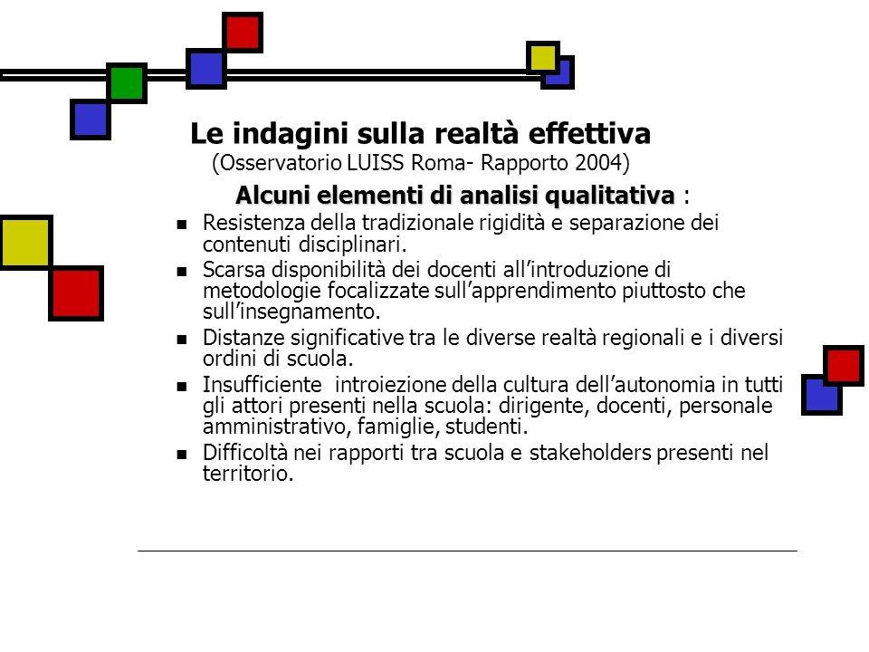 Le indagini sulla realtà effettiva (Osservatorio LUISS Roma- Rapporto 2004) Alcuni elementi di analisi qualitativa Alcuni elementi di analisi qualitat