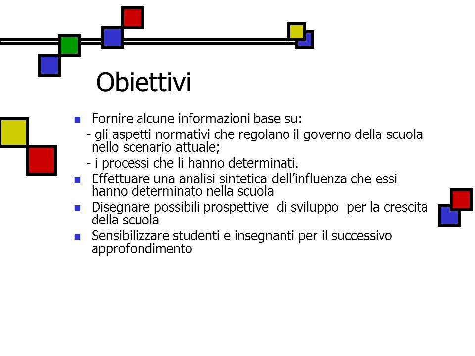 Obiettivi Fornire alcune informazioni base su: - gli aspetti normativi che regolano il governo della scuola nello scenario attuale; - i processi che l