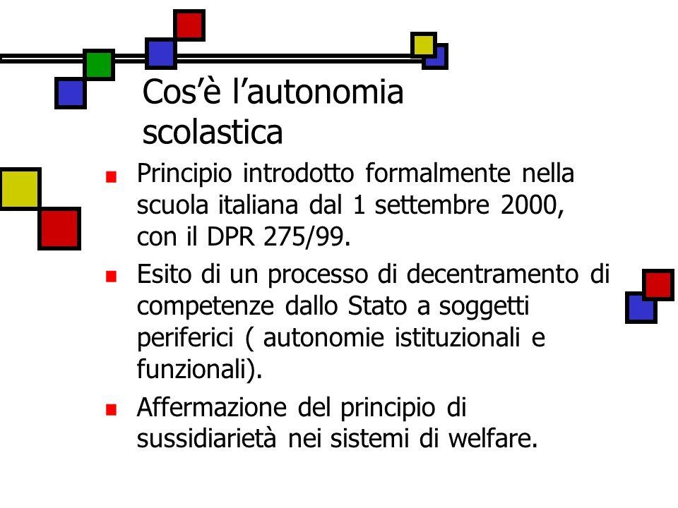 Cosè lautonomia scolastica Principio introdotto formalmente nella scuola italiana dal 1 settembre 2000, con il DPR 275/99. Esito di un processo di dec