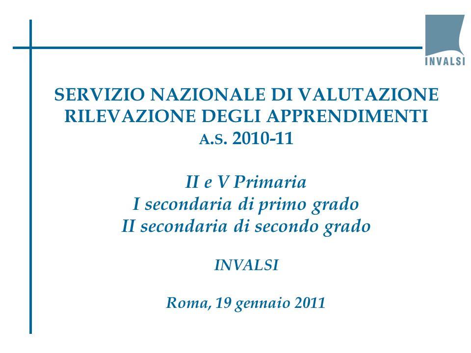 SERVIZIO NAZIONALE DI VALUTAZIONE RILEVAZIONE DEGLI APPRENDIMENTI A.