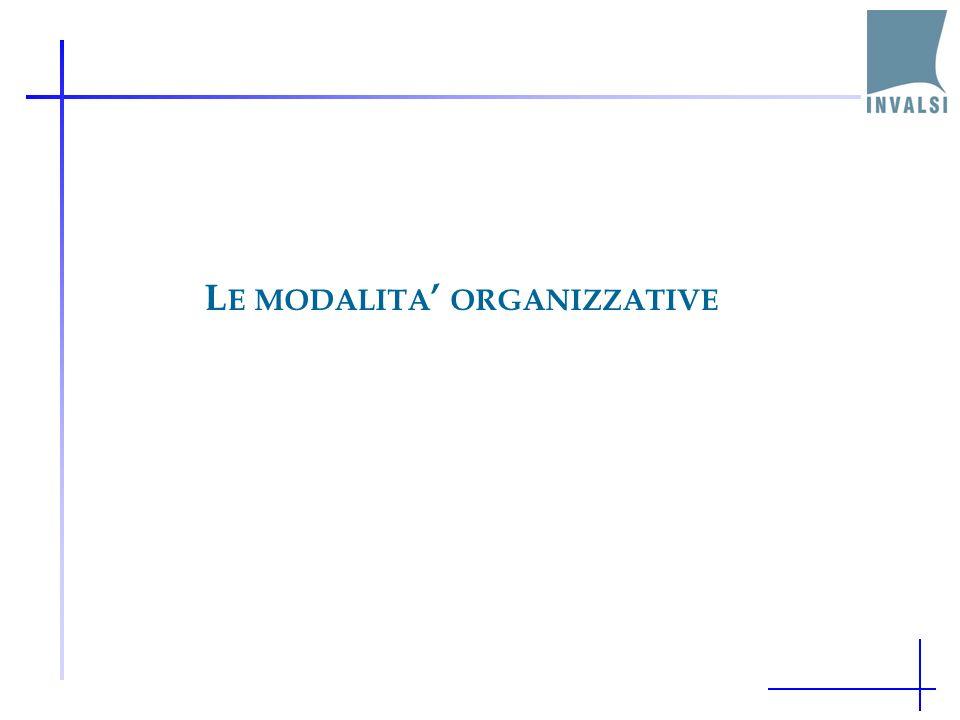 L E MODALITA ORGANIZZATIVE