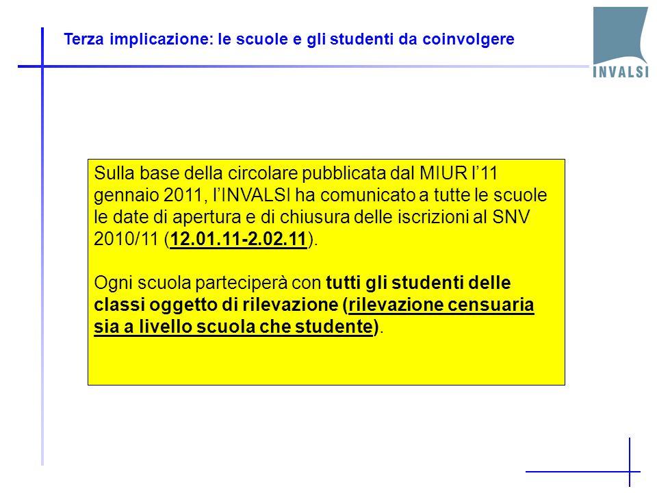 Terza implicazione: le scuole e gli studenti da coinvolgere Sulla base della circolare pubblicata dal MIUR l11 gennaio 2011, lINVALSI ha comunicato a tutte le scuole le date di apertura e di chiusura delle iscrizioni al SNV 2010/11 (12.01.11-2.02.11).