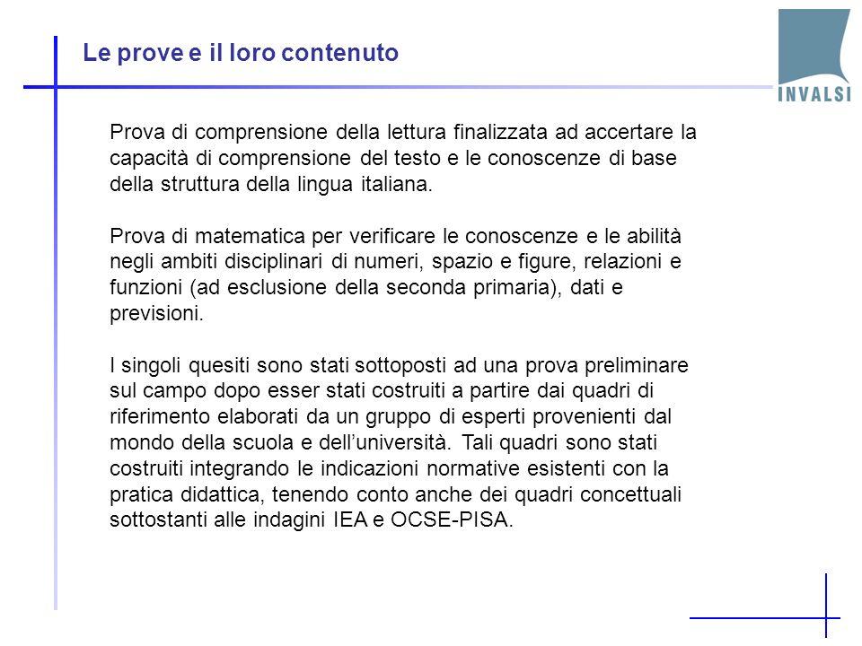 Le prove e il loro contenuto Prova di comprensione della lettura finalizzata ad accertare la capacità di comprensione del testo e le conoscenze di base della struttura della lingua italiana.