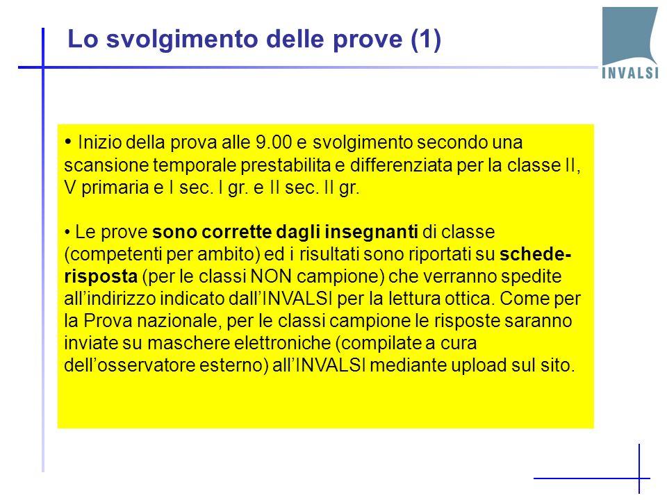 Lo svolgimento delle prove (1) Inizio della prova alle 9.00 e svolgimento secondo una scansione temporale prestabilita e differenziata per la classe II, V primaria e I sec.