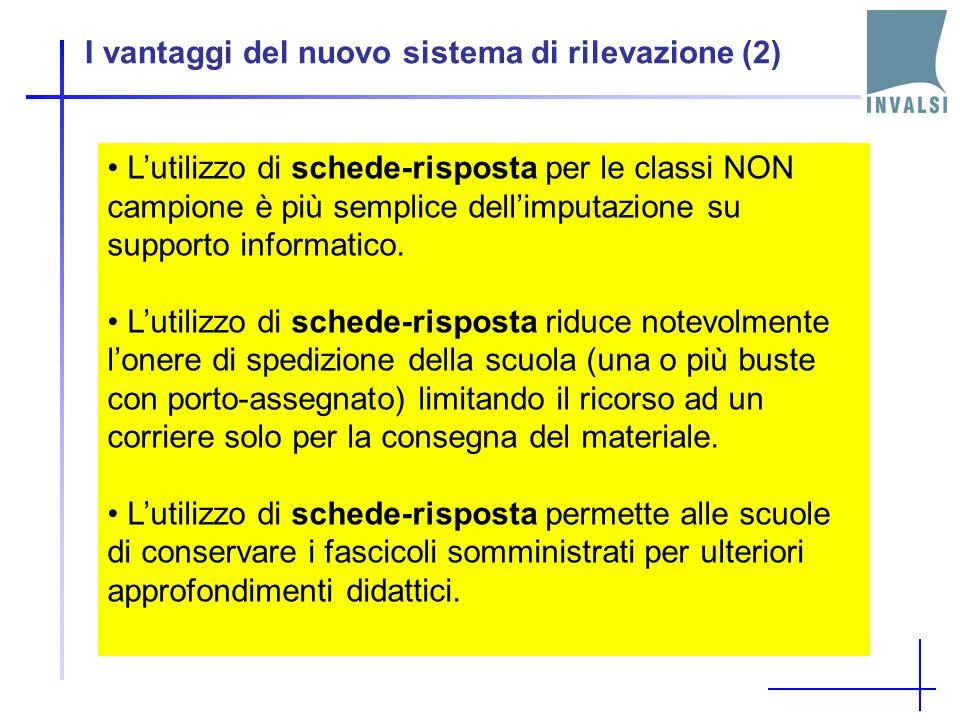 I vantaggi del nuovo sistema di rilevazione (2) Lutilizzo di schede-risposta per le classi NON campione è più semplice dellimputazione su supporto informatico.