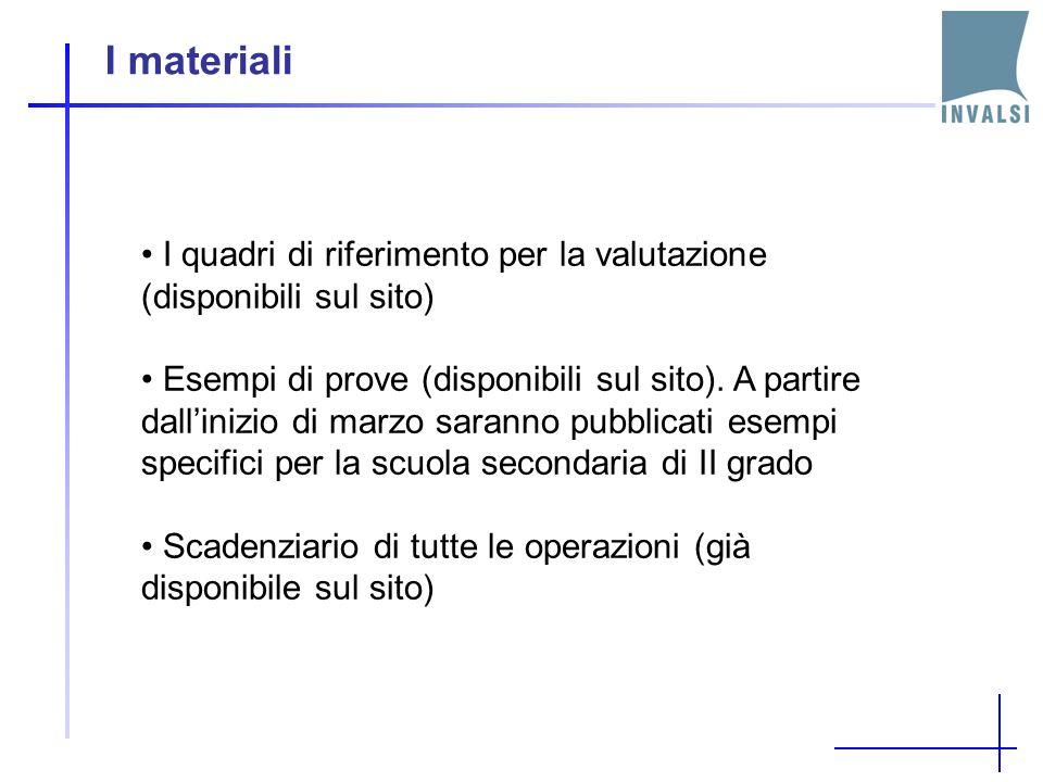 I materiali I quadri di riferimento per la valutazione (disponibili sul sito) Esempi di prove (disponibili sul sito).