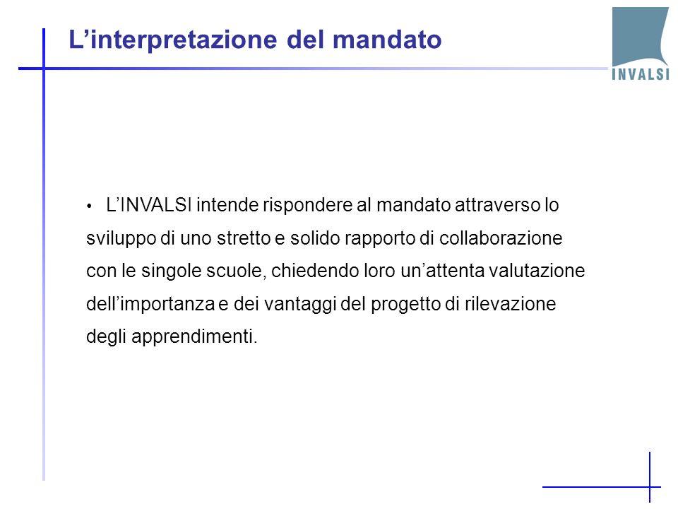Linterpretazione del mandato LINVALSI intende rispondere al mandato attraverso lo sviluppo di uno stretto e solido rapporto di collaborazione con le singole scuole, chiedendo loro unattenta valutazione dellimportanza e dei vantaggi del progetto di rilevazione degli apprendimenti.