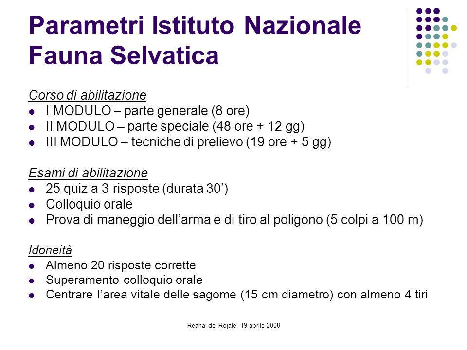 Reana del Rojale, 19 aprile 2008 Parametri Istituto Nazionale Fauna Selvatica Corso di abilitazione I MODULO – parte generale (8 ore) II MODULO – part