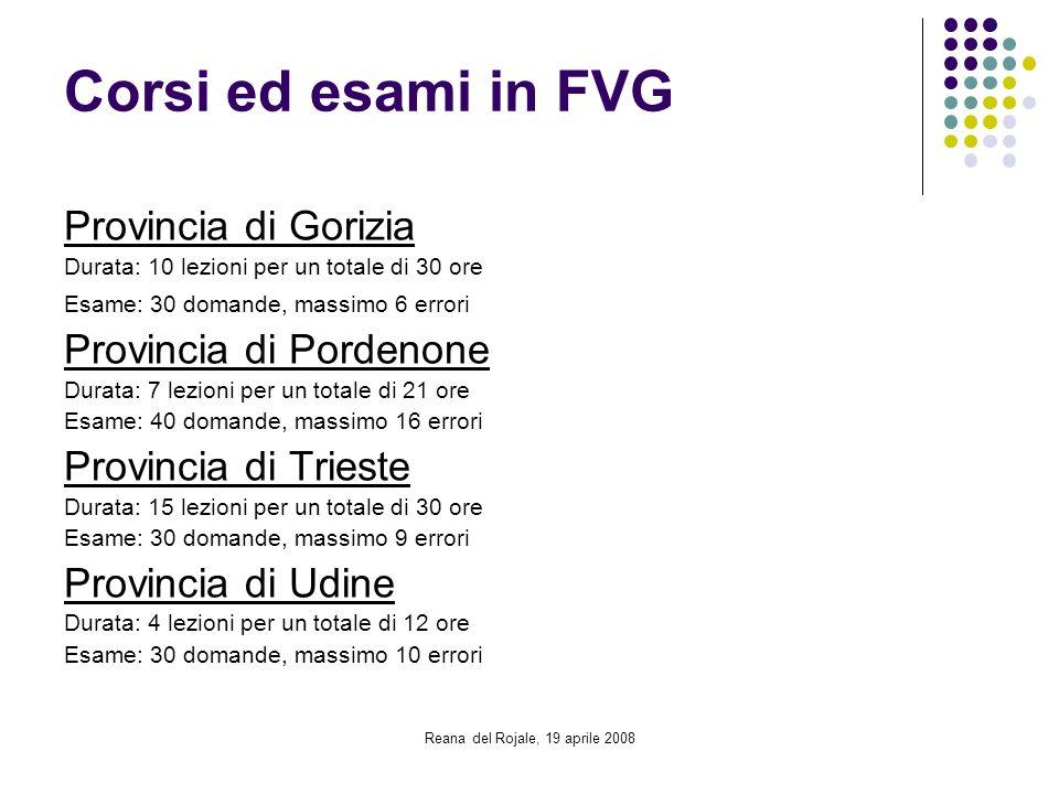 Reana del Rojale, 19 aprile 2008 Corsi ed esami in FVG Provincia di Gorizia Durata: 10 lezioni per un totale di 30 ore Esame: 30 domande, massimo 6 er