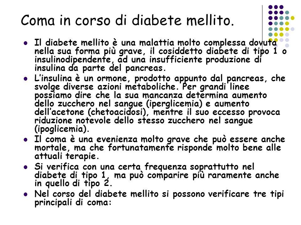 Coma in corso di diabete mellito. Il diabete mellito è una malattia molto complessa dovuta nella sua forma più grave, il cosiddetto diabete di tipo 1