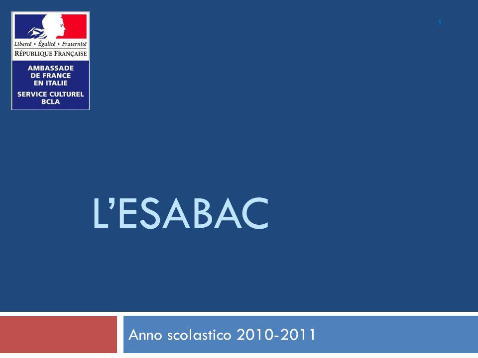 2 EsaBac: Origini Tappe: Accordo 2007 tra i 2 ministri Firma 2009 (Sommet di Roma) Entrata in vigore: rientro scolastico 2010 (esame 2011) Ruolo Ambasciata: semplice staffetta MEN e MIUR sono gli addetti a decidere / rispondere Principio: 1 esame = 2 diplomi Modelli = ABI-BAC & BACHI-BAC