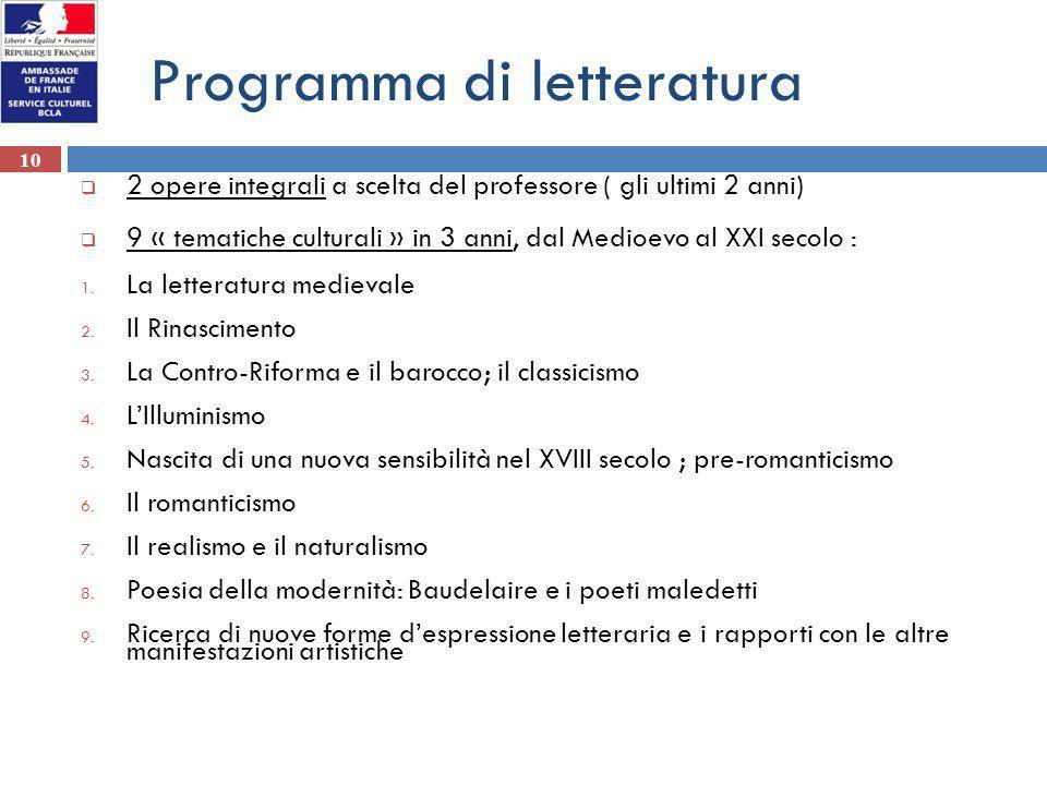 10 Programma di letteratura 2 opere integrali a scelta del professore ( gli ultimi 2 anni) 9 « tematiche culturali » in 3 anni, dal Medioevo al XXI se