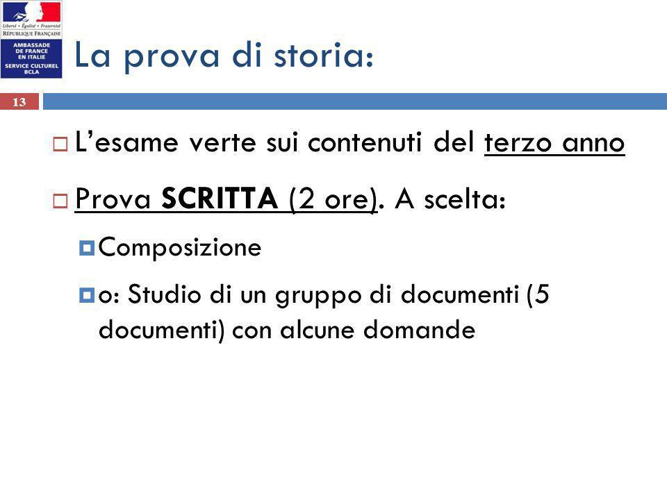 13 La prova di storia: Lesame verte sui contenuti del terzo anno Prova SCRITTA (2 ore). A scelta: Composizione o: Studio di un gruppo di documenti (5