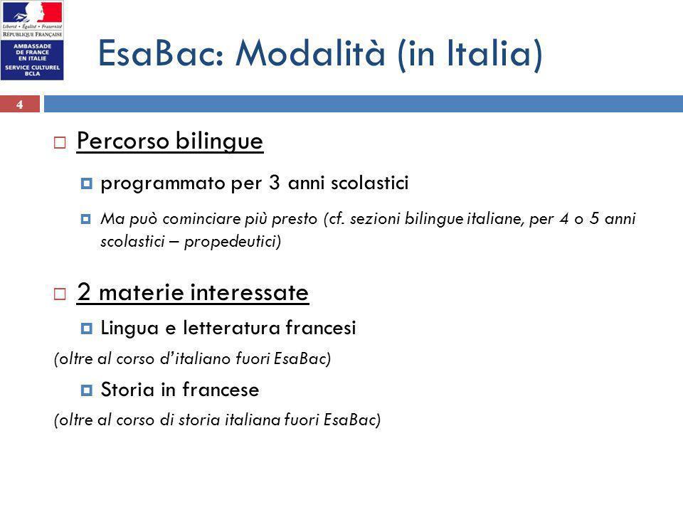 4 EsaBac: Modalità (in Italia) Percorso bilingue programmato per 3 anni scolastici Ma può cominciare più presto (cf. sezioni bilingue italiane, per 4
