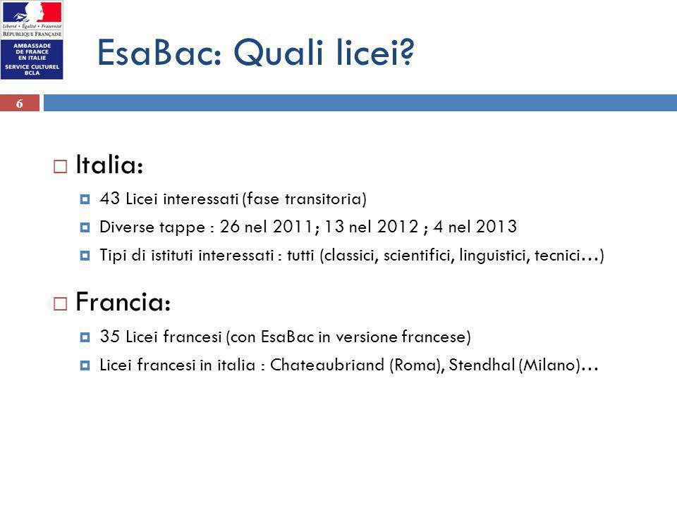 6 EsaBac: Quali licei? Italia: 43 Licei interessati (fase transitoria) Diverse tappe : 26 nel 2011; 13 nel 2012 ; 4 nel 2013 Tipi di istituti interess