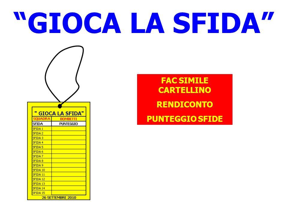 FAC SIMILE CARTELLINO RENDICONTO PUNTEGGIO SFIDE GIOCA LA SFIDA