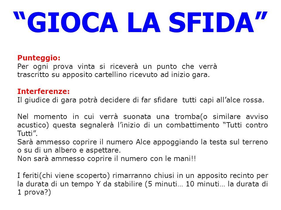 GIOCA LA SFIDA Punteggio: Per ogni prova vinta si riceverà un punto che verrà trascritto su apposito cartellino ricevuto ad inizio gara.