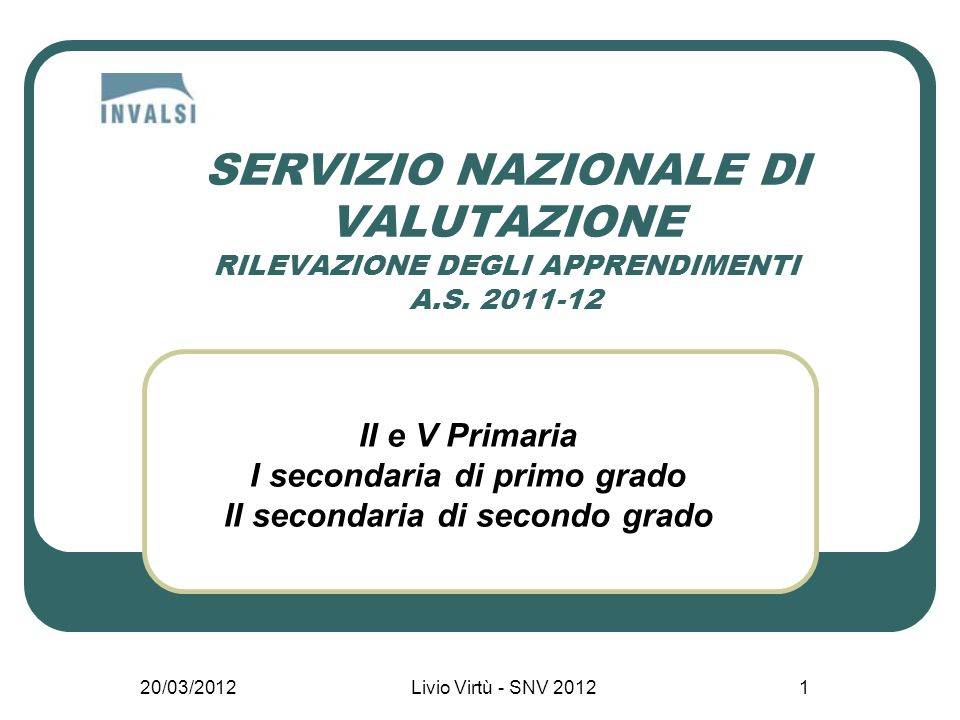 20/03/2012Livio Virtù - SNV 20121 SERVIZIO NAZIONALE DI VALUTAZIONE RILEVAZIONE DEGLI APPRENDIMENTI A.S.