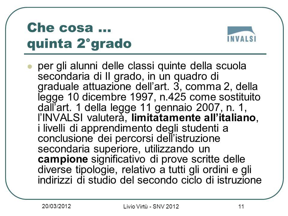 20/03/2012 Livio Virtù - SNV 2012 11 Che cosa...