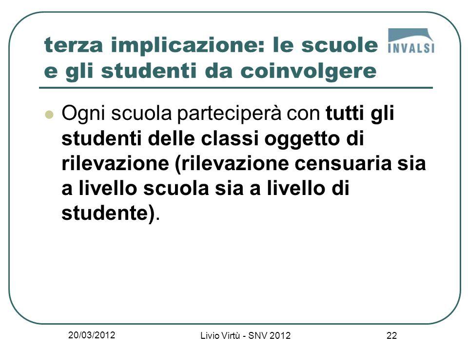 20/03/2012 Livio Virtù - SNV 2012 22 terza implicazione: le scuole e gli studenti da coinvolgere Ogni scuola parteciperà con tutti gli studenti delle classi oggetto di rilevazione (rilevazione censuaria sia a livello scuola sia a livello di studente).
