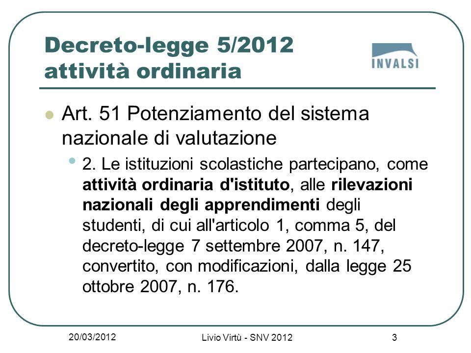 20/03/2012 Livio Virtù - SNV 2012 14 Obiettivo di sistema della valutazione degli apprendimenti Obiettivo di sistema promuovere un generale e diffuso miglioramento della qualità degli apprendimenti …, avendo riguardo, in particolare, agli apprendimenti di base.