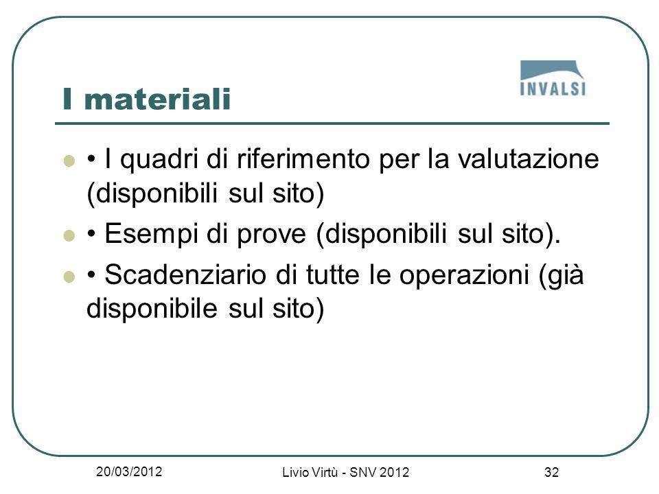 20/03/2012 Livio Virtù - SNV 2012 32 I materiali I quadri di riferimento per la valutazione (disponibili sul sito) Esempi di prove (disponibili sul sito).