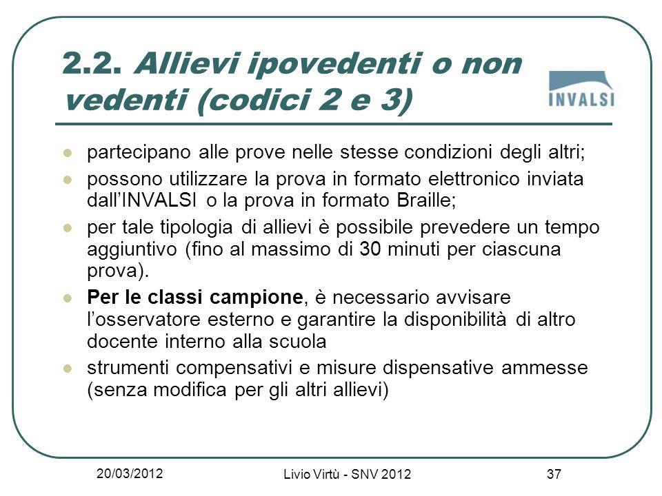 20/03/2012 Livio Virtù - SNV 2012 37 2.2.