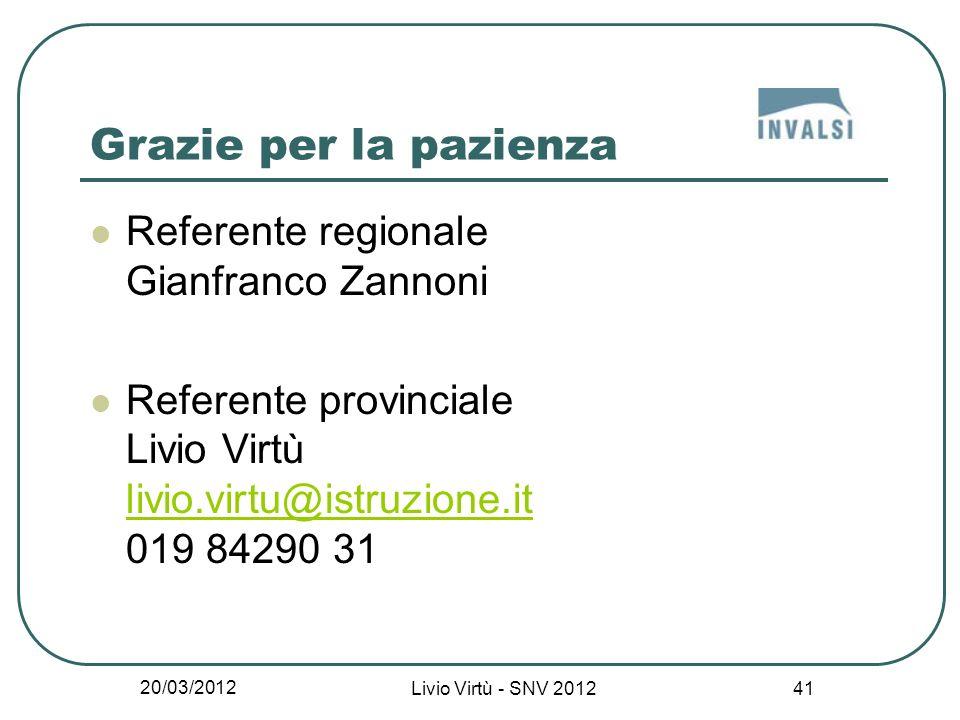 20/03/2012 Livio Virtù - SNV 2012 41 Grazie per la pazienza Referente regionale Gianfranco Zannoni Referente provinciale Livio Virtù livio.virtu@istruzione.it 019 84290 31 livio.virtu@istruzione.it