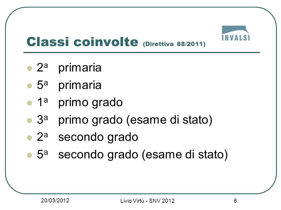 20/03/2012 Livio Virtù - SNV 2012 27 Lo svolgimento delle prove (2) Inizio della prova e svolgimento secondo una scansione temporale prestabilita e differenziata per la classe II, V primaria e I sec.