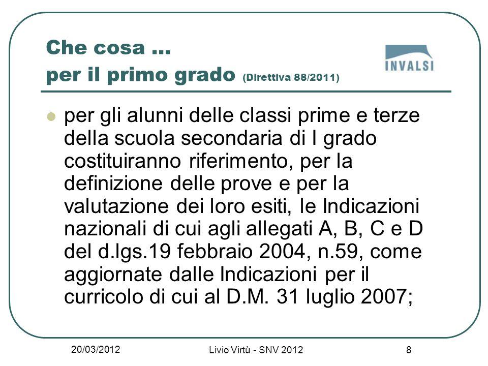 20/03/2012 Livio Virtù - SNV 2012 9 Che cosa...