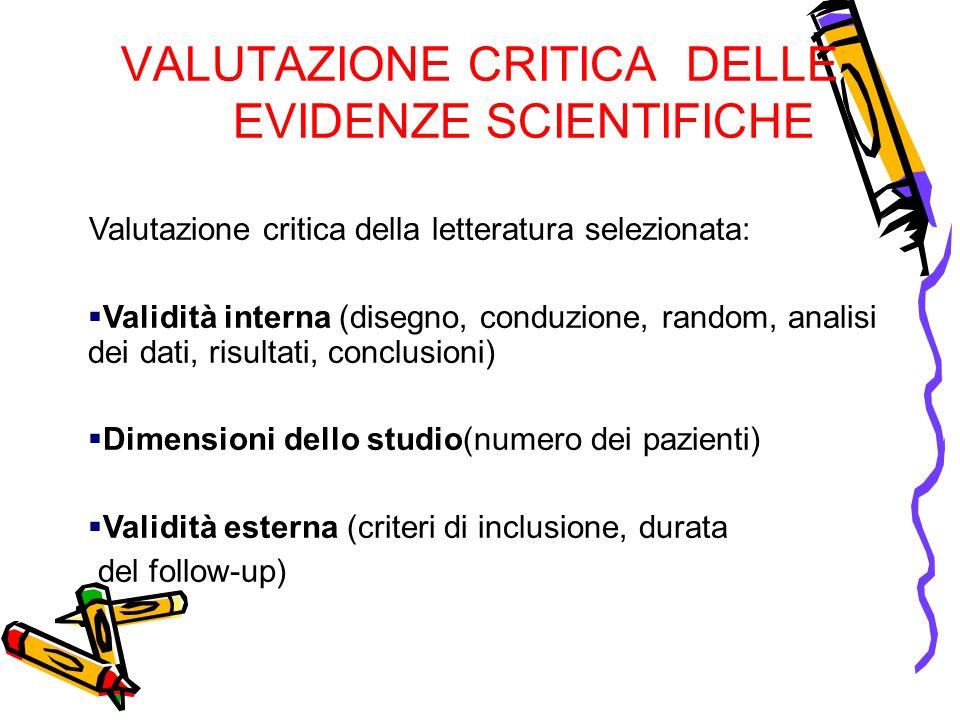 VALUTAZIONE CRITICA DELLE EVIDENZE SCIENTIFICHE Valutazione critica della letteratura selezionata: Validità interna (disegno, conduzione, random, anal