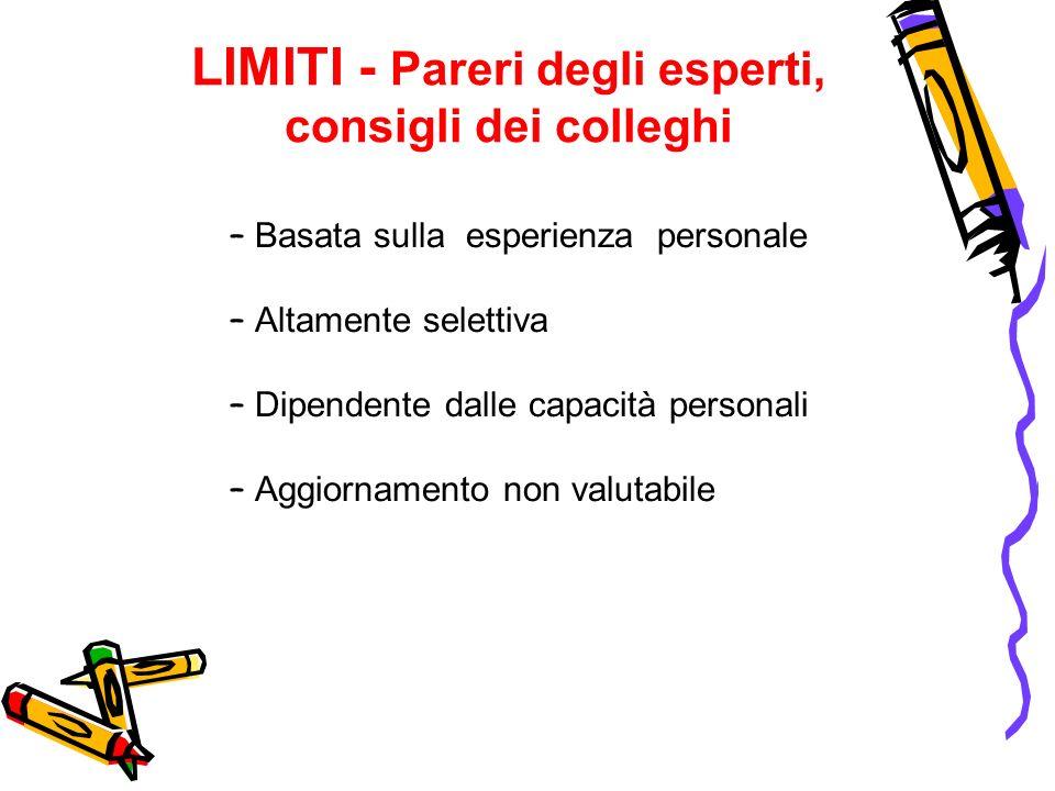 LIMITI - Pareri degli esperti, consigli dei colleghi – Basata sulla esperienza personale – Altamente selettiva – Dipendente dalle capacità personali –