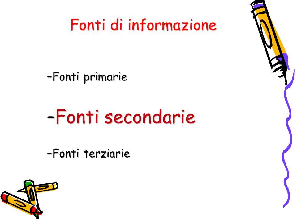 Fonti di informazione –Fonti primarie –Fonti secondarie –Fonti terziarie