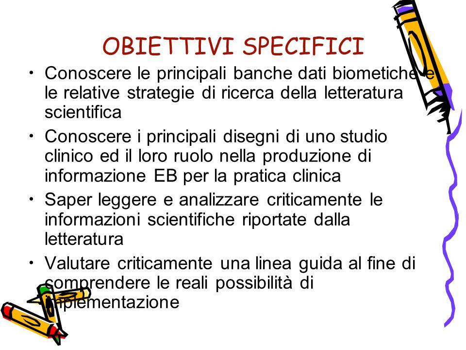 OBIETTIVI SPECIFICI Conoscere le principali banche dati biometiche e le relative strategie di ricerca della letteratura scientifica Conoscere i princi