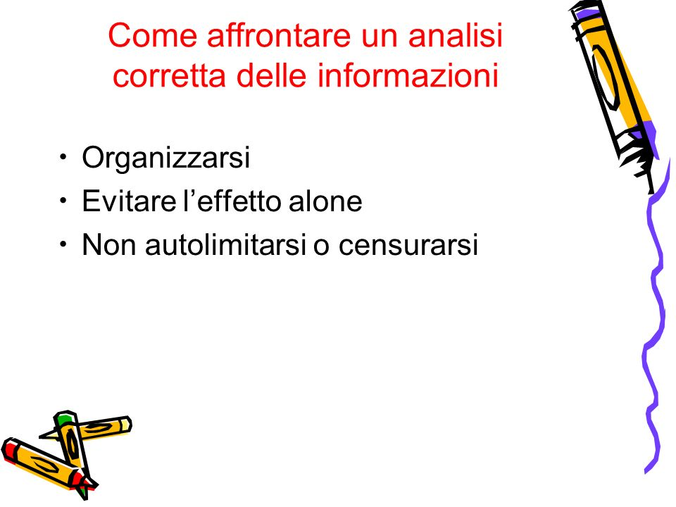 Come affrontare un analisi corretta delle informazioni Organizzarsi Evitare leffetto alone Non autolimitarsi o censurarsi