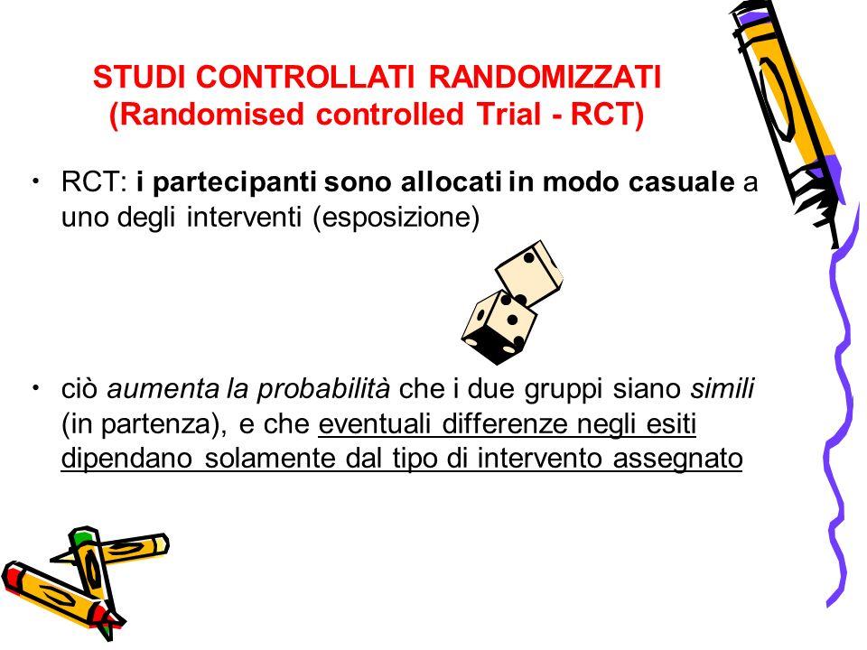 STUDI CONTROLLATI RANDOMIZZATI (Randomised controlled Trial - RCT) RCT: i partecipanti sono allocati in modo casuale a uno degli interventi (esposizio