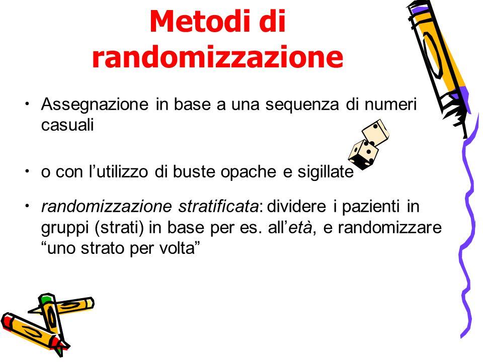 Metodi di randomizzazione Assegnazione in base a una sequenza di numeri casuali o con lutilizzo di buste opache e sigillate randomizzazione stratifica
