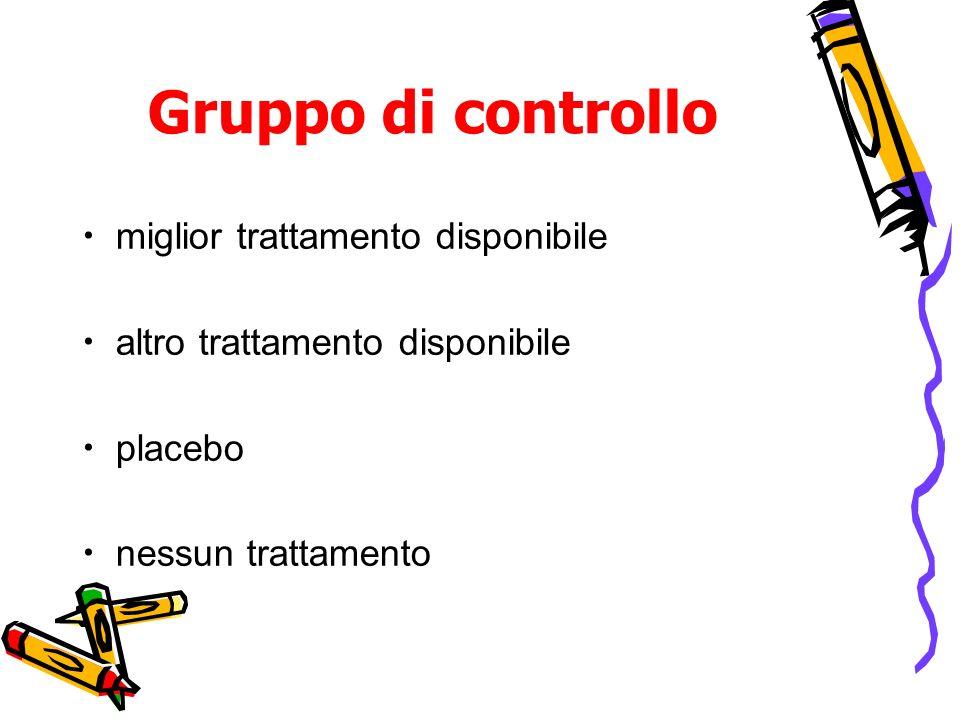 Gruppo di controllo miglior trattamento disponibile altro trattamento disponibile placebo nessun trattamento